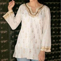 Golden Glamour 100% Cotton White with Gold Block Print Keyhole Neck Embellished Embroidery Sequins Beads Womens Tunic (India)