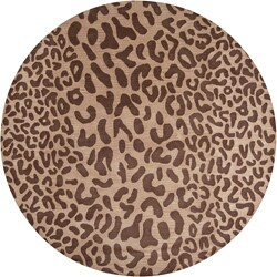 Hand-tufted Tan Leopard Justified Animal Print Wool Rug (8' Round)
