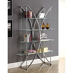 Chrome Etagere with Tempered Glass Shelves
