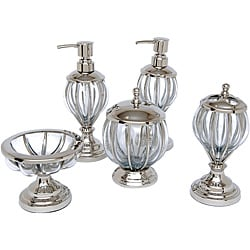 Blown Glass and Nickel Bath Accessory 5-piece Set - Thumbnail 0
