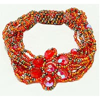 Handmade Orange and Yellow Glass Bead Magnetic Flower Bracelet (Guatemala)