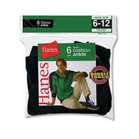 Hanes Men's Ankle Black Socks (Pack of 6)