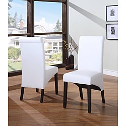 Sleigh Back White Parsons Chair (Set of 2)