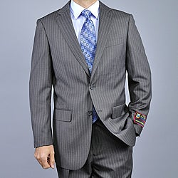 Giorgio Fiorelli Men's Black Pinstripe Fully Lined Two-Button Suit (2 options available)