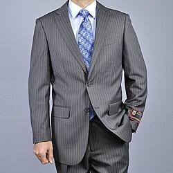 Giorgio Fiorelli Men's Black Pinstripe Fully Lined Two-Button Suit