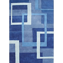 Handmade Metro New Zealand Wool Blend Blue Rug (5' x 8')