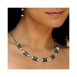 Sweet Maya Modern Handmade Artisan Green Jade Pendants on Bone Chain of 925 Sterling Silver Womens Collar Necklace (Guatemala)