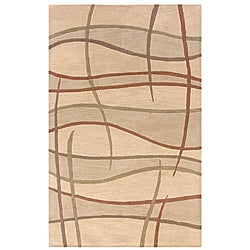 Hand-tufted Hesiod Beige Wool Rug - 5' x 8' - Thumbnail 0