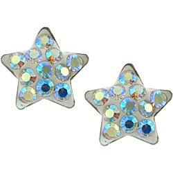 Sterling Silver Iridescent Pave Crystal Star Stud Earrings