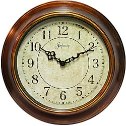 Keeler 14-inch Multicolor Brown Metal Wall Clock