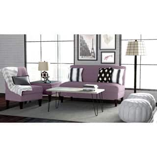 Porch Den Highland Shoshone Amethyst Purple Linen 3 Piece Sofa Set