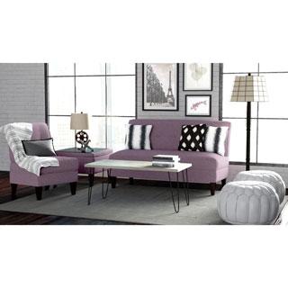 Handy Living Engle Amethyst Purple Linen 3 Piece Sofa Set