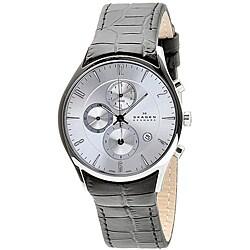 Skagen Men's Black Leather Band Chronograph Watch