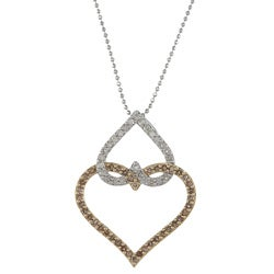 Victoria Kay 14k Gold 5/8ct TDW Champagne and White Diamond Heart Necklace