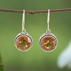 Handmade Sterling Silver Citrine Bali Dangle Earrings (Indonesia)