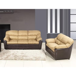 Excellent Playa Peach Microfiber Sofa And Loveseat Set Overstock Com Shopping The Best Deals On Living Room Sets Pabps2019 Chair Design Images Pabps2019Com