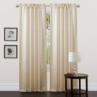 Lush Decor Beige 84-inch Rose Lane Curtain Panels (Set of 2)