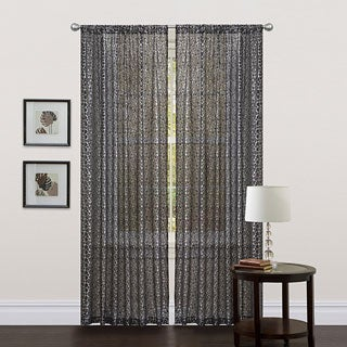 Lush Decor Black 84-inch Leopard Curtain Panel