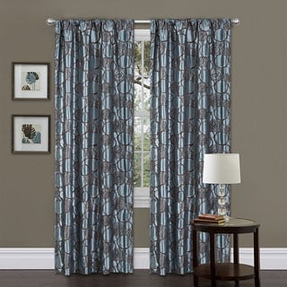 Lush Decor Blue/ Brown 84-inch Circle Charm Curtain Panel
