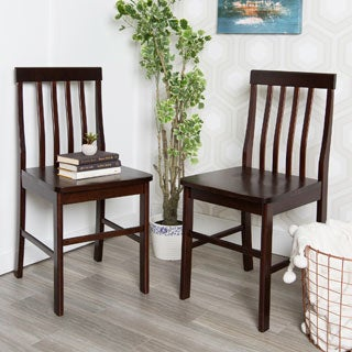 Farmhouse Brown Wood Dining Chairs (Set of 2)