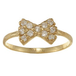Gioelli 14k Gold over Silver Clear Cubic Zirconia Bow Baby Ring