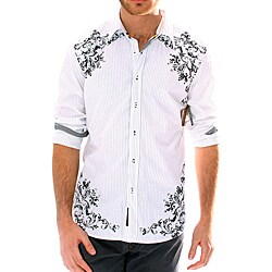 191 Unlimited Men's White Pinstripe Screen Print Shirt