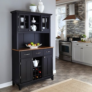 Home Styles Black Hutch Buffet with Wood Top