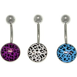 Carolina Glamour Collection Stainless Steel Leopard Design Barbell Navel Rings (Pack of 3)
