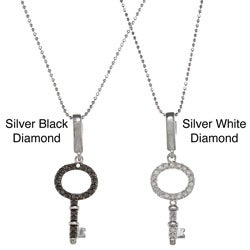 Sterling Silver 1/4ct TDW Diamond Key Necklace (J-K, I2-I3)