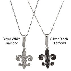 Victoria Kay Sterling Silver 1/3ct TDW Diamond Fleur de Lis Charm Necklace (J-K, I2-I3)