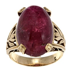 14k Yellow Gold Pink Tourmaline Estate Cocktail Ring