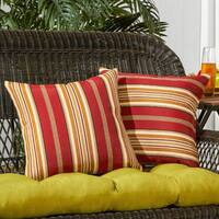 Porch & Den Rosewood Walter Stripe Outdoor 17-inch Accent Pillow (Set of 2)