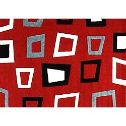 Modern Deco Red Trapezio Rug - 3'9 x 5'1