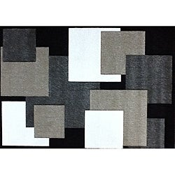 Modern Deco Black Boxes Rug (3'9 x 5'1)