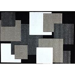 Modern Deco Black Boxes Rug - Thumbnail 0