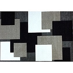 Modern Deco Grey Boxes Rug (3'9 x 5'1)