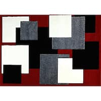 Modern Deco Red Boxes Rug - 3'9 x 5'1