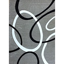 Modern Deco Gray Circles Rug (3'9 x 5'1)