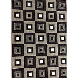 Modern Deco Chocolate Blocks Rug (3'9 x 5'1)