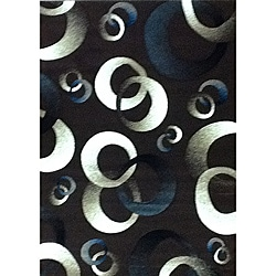 Generations Chocolate Abstract Circle Rug (5'2 x 7'2)