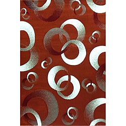 Generations Rust Abstract Circle Rug (3'9 x 5'1)