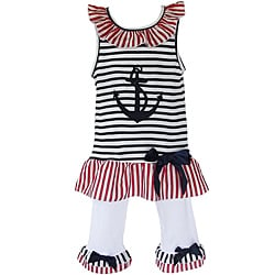 AnnLoren Girls Patriotic Sailor Tunic/ Capri Legging Set