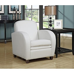 White Faux Leather Accent Chair