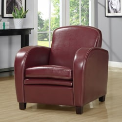 Red Faux Leather Accent Chair