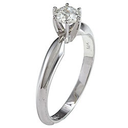 Victoria Kay 14k Gold 1/2ct TDW Certified Round Diamond Solitaire Ring (Size 6.5)