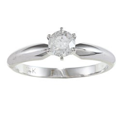 14k White Gold 1/2ct TDW Certified Diamond Solitaire Engagement Ring (D-E, I1-I2)
