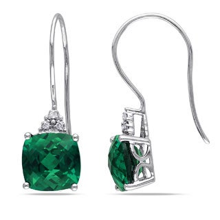Miadora 10k Gold 5 2/5ct TGW Created Emerald and Diamond Accent Earrings