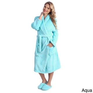 Ultrasoft Plush Bathrobe and Slipper Set (Option: Pink)