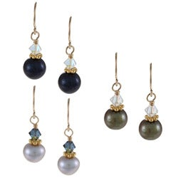 Lola's Jewelry Goldfill FW Pearl and Crystal Earring Set (7-8 mm)