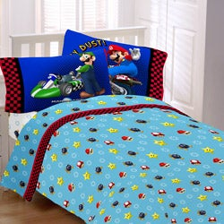 Super Mario The Race Is On Twin Size 3 Piece Sheet Set